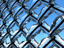 A frozen chain-link fence