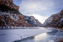 A Frozen Colorado River in Glenwood Canyon