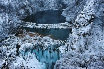 A frozen lake in Plitvice Lakes National Park in Croatia