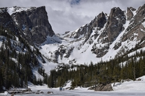 A frozen over Dream Lake in RMNP CO