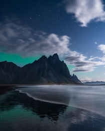 A full moon lighting up Vestrahorn Iceland
