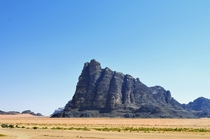 A gigantic rock formation in the Wadi Rum Desert Jordan