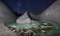 A glacial lake at Concordia Gilgit-Balitistan Pakistan  By David Kaszlikowski