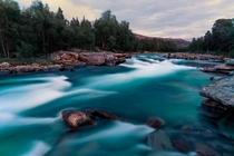 A glacial river in Norways Saltfjellet-svartisen National Park at midnight