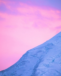 A glacier and a pastel sunset- really beautiful combo to witness Mount Rainier National Park WA