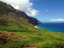 A glimpse of the beach at the end of Kalalau Trail Kauai HI