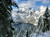 A glimpse of Upper Thornton Lake in North Cascades National Park WA