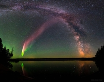 A Glowing STEVE and the Milky Way Image Credit NASA and Krista Trinder