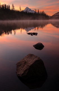 A gorgeous misty sunrise at Lost Lake in Oregon Nature can be chaotic but sometimes it all lines up