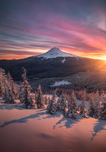 A gorgeous sunrise from this past weekend atop Tom Dick amp Harry Mountain Oregon looking out at Mt Hood after mid-April snow showers
