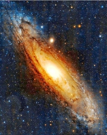 A gorgeously processed pic of the Andromeda Galaxy One day in the far future our Milky Way and Andromeda will merge and become one with several millions of stars being launched into empty space to wander forever