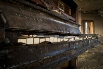 A grand piano in an Asylum in Wales UK