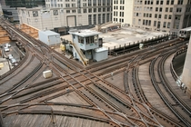 A grand union rail track junction in Chicago