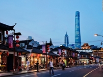 A great juxtaposition of traditional and modern architectural styles in Shanghai China