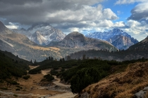 A hailstorm rolled through a minute after I took this photo and the view disappeared completely - Dolomites Italy  x