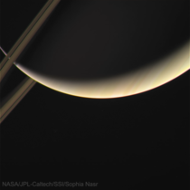 A hauntingly beautiful crescent Saturn with a sliver of its rings Taken by Cassini Apr   processed by me Res