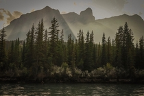 A hazy day in paradise near Canmore Alberta Canada