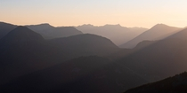 A hazy layer filled sunset in the Cascades WA