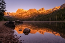 A Hell Roaring Sunrise shot at Hell Roaring Lake in the Sawtooth Wilderness