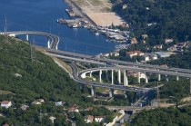 A highway interchange hanging precariously over Bakar Croatia