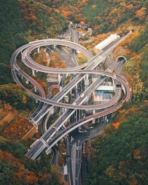 A highway interchange in the Takao Mountain near Tokyo Japan