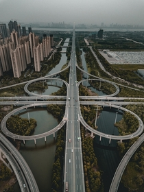 A highway interchange in Wuhan China