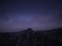 A hiker turned on their headlamp on the summit of Half Dome during my long exposure attempt