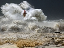 A huge ocean storm Porto Portugal January