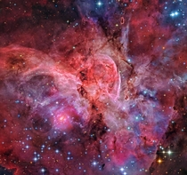 A jewel of the southern sky the Great Carina Nebula also known as NGC  spans over  light-years one of our galaxys largest star forming regions