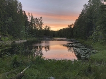 A lake I camped at for a night in Finland last year when backpacking through east Europe and Scandinavia