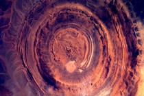 A lava crater in Mauritania taken from the ISS by Dutch astronaut Andre Kuipers