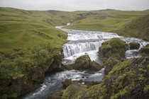 A less-often posted waterfall just a  minute hike behind the well-known Skgafoss in Iceland  x