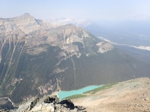 A lesser seen view of Lake Louise on a smokey day