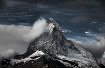A light coat of snow overnight on one of the most iconic mountains in the world Matterhorn Zermatt Switzerland  OC