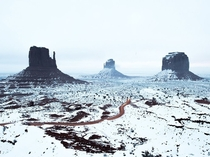A light snowfall in Monument Valley National Park Utah Tyler Lekki