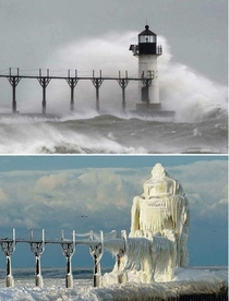 A lighthouse in Michigan before and after major ice storm