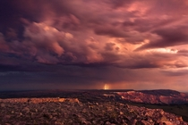 A lightning storm at sunset above Cedar Breaks in Brian Head UT  OC