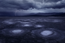A lightning storm over Death Valley California  photo by Miles Morgan