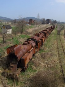 A line of steam locomotives at cinawka rednia southern Poland