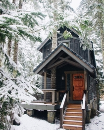 A little snow on the cabin