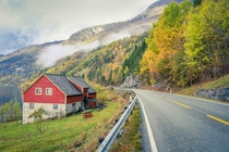 A lone little home on the road to Ulvik Norway