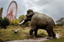 A lone Wooly Mammoth in an abandoned theme park in Berlin