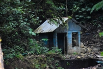 A lonely blue building in Costa Rica