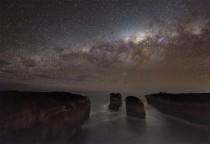 A long-expose photo taken on the Australian coast