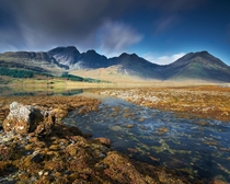 A long exposure at sunrise of Bl Bheinn Isle of Skye Scotland