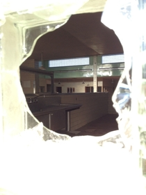 A look inside the cafeteria through a broken window at Medfield State Hospital The same asylum where Shutter Island was filmed