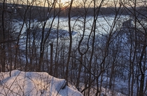 A look out over a frozen lake Creve Coeur Lake Near St Louis MO