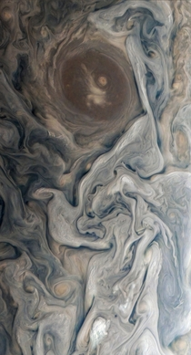 A lovely recolor of the swirling cloud tops of Jupiter taken by NASAs Juno probe