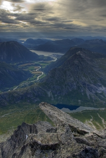 A lovely view of Romsdalen from the summit of Litje Vengetind  photo by Tarjei Husy