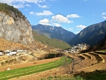 A low-altitude Tibetan village near the Yangtze River on the border of Yunnan and Sichuan
